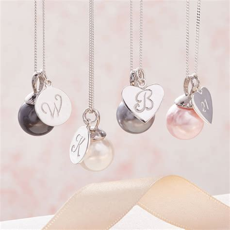 pearl pendant necklace in silver with initial by claudette