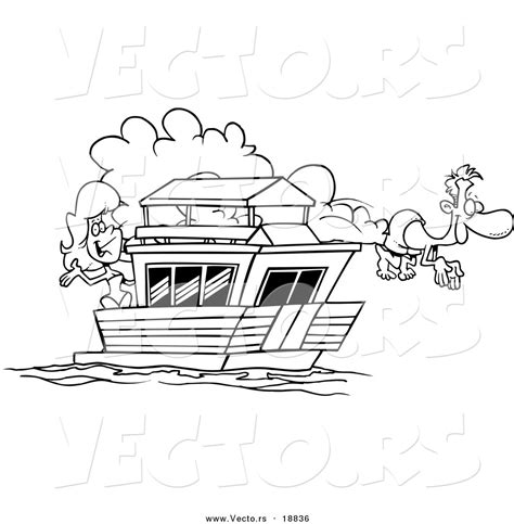 coloring page house boat vector of a cartoon couple on their house boat outlined
