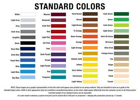 color standards standard colors g2 gemini the leader in custom apparel