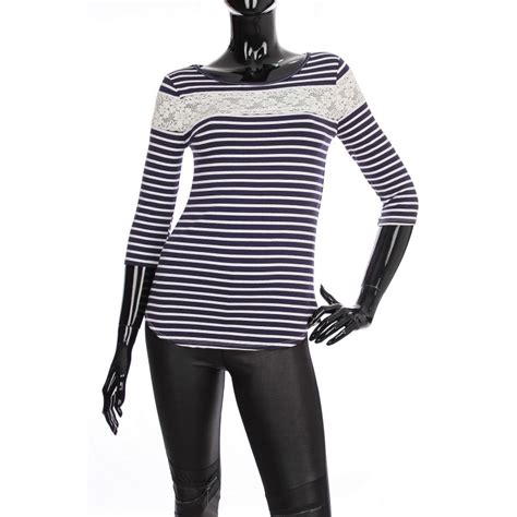 Tshirt Plus 500 Navy striped t shirt navy 1938 grossiste pret a porter