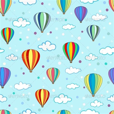 Blue River Nursery by Seamless Air Balloon Pattern Graphicriver