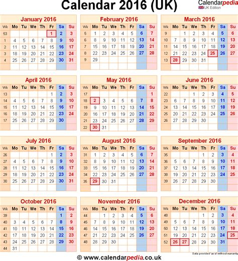 2016 Calendar Template Pdf Uk Calendar 2016 Uk With Bank Holidays Excel Pdf Word Templates