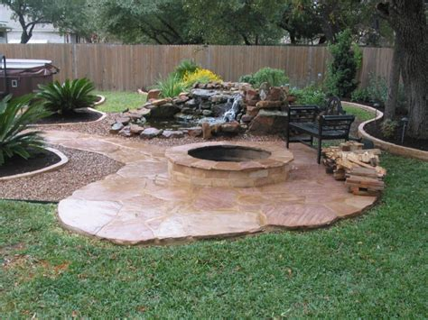 pit landscaping with tile paths pit