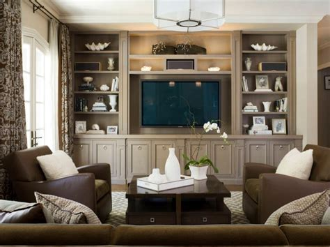 Traditional living room with built in shelves   Home