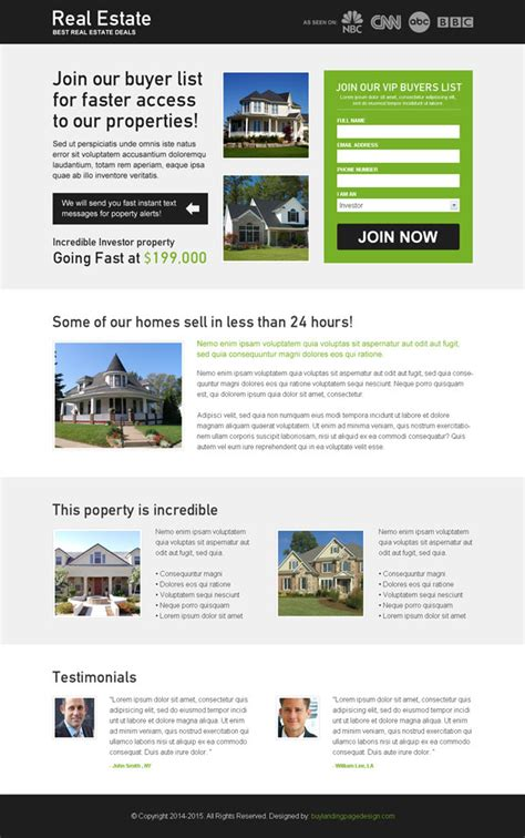 Real Estate Landing Page Design To Promote Your Real Estate Business Landing Page Design Lead Capture Template