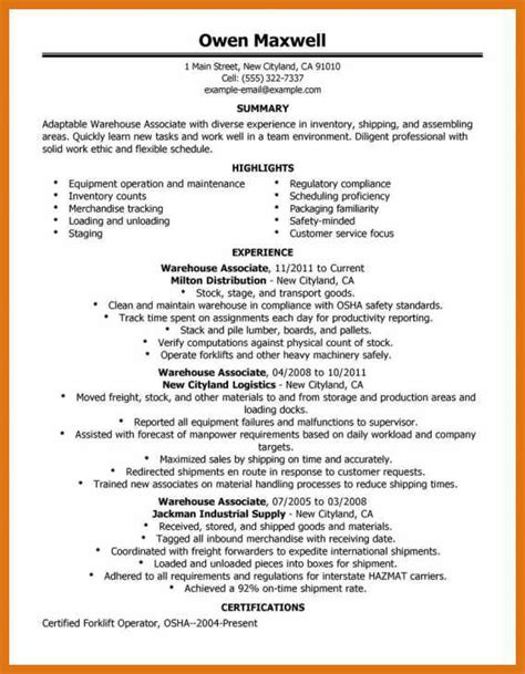 warehouse experience resume sle uw resume center pay to do and gender