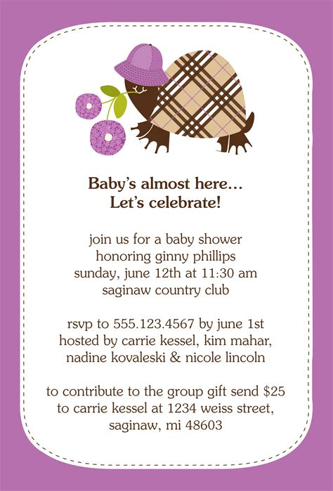baby shower invitation wording for invitation contest design entry burberry turtle baby