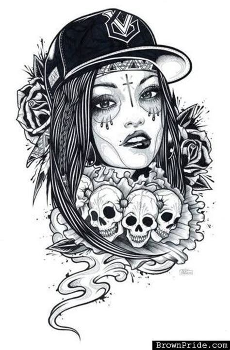 mexican pin up girl tattoo designs chicana with skulls or wings the of