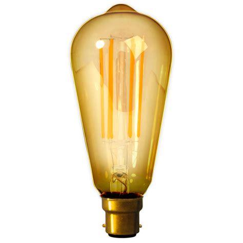Calex Led Long Filament Squirrel Cage 4w 240v B22d Gold Calex Led Light Bulbs