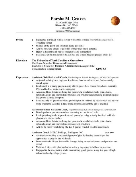 professional basketball player resume sle