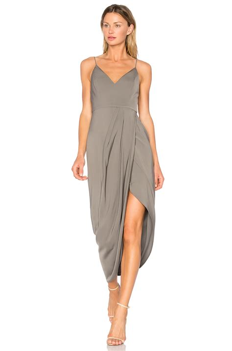 dress drape shona joy stellar drape dress in olive revolve