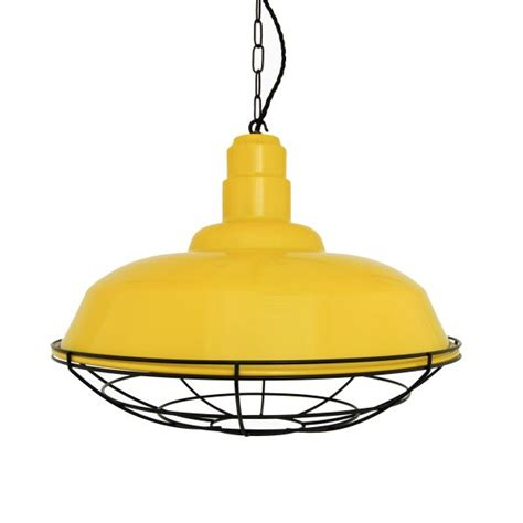 Yellow Pendant Lights Yellow Industrial Cage Pendant Light