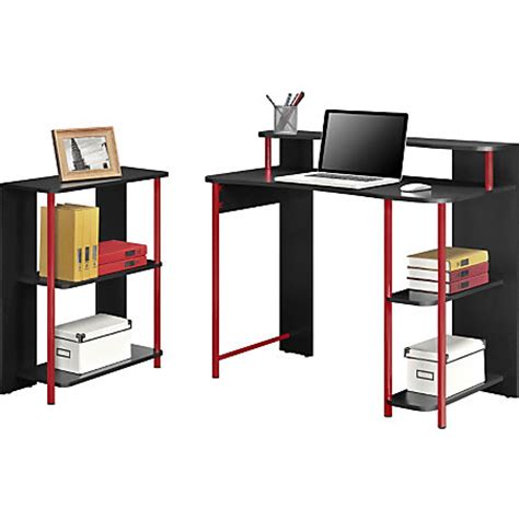 altra wood computer desk and bookcase set blackred by