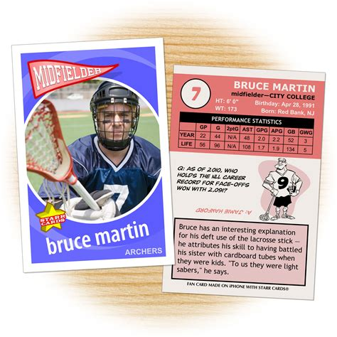 lacrosse player card template custom lacrosse cards retro 60 series cards