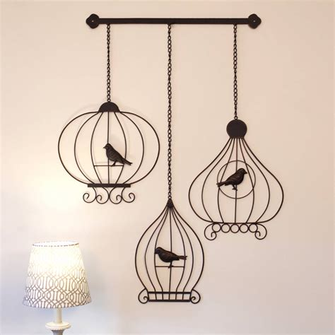 Wrought Iron Metal Wall Art Large 52cm Vintage Birdcages