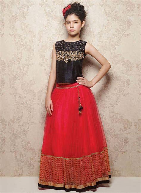 Long Neck Vases Buy Red Embroidered Designer Navratri Special Net Stitched