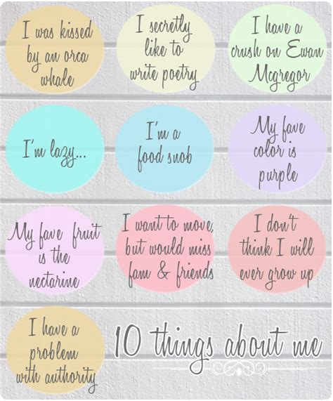 Things I About Me by 10 Things About Me Fixx