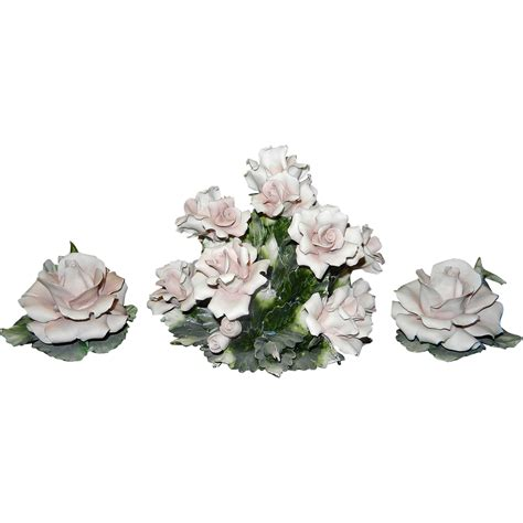 Capodimonte Ls by Vintage Capodimonte Center And Candle Holders