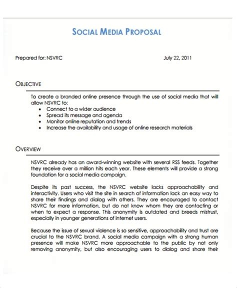 10 Social Media Proposal Templates Free Sle Exle Format Download Free Premium Templates Social Media Management Template