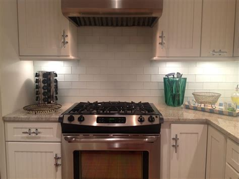 frosted white glass subway tile kitchen backsplash