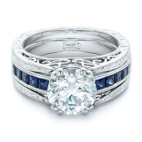 custom and blue sapphire interlocking engagement ring