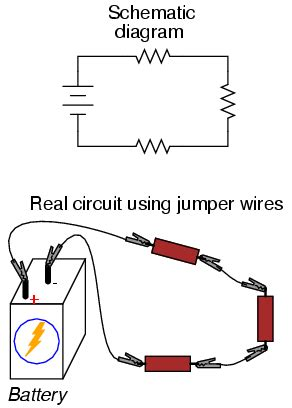 shows three circuits with identical batteries inductors and resistors building simple resistor circuits