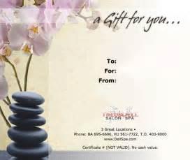 spa certificate template certificate work gift certificate