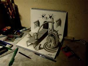 cool 3d anamorphic pencil drawings by a young artist in