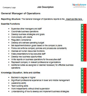 Resume Job Duties List by Job Description For A General Manager Of Operations