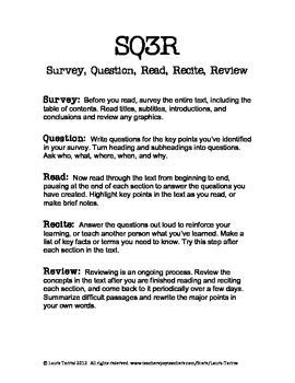 free sq3r handout and worksheet study skills pinterest
