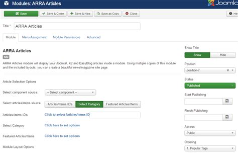 Joomla Quick Tutorial | arra articles module quick tutorial custom joomla