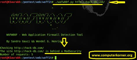 wafw00f tutorial waffit wafwoof web application firewall detection tool