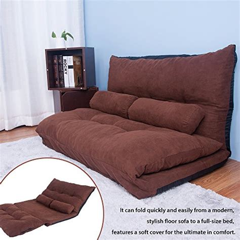 Gaming Sofa Bed Merax Adustable Foldable Modern Leisure Sofa Bed Gaming Sofa With Two Pillows Brown