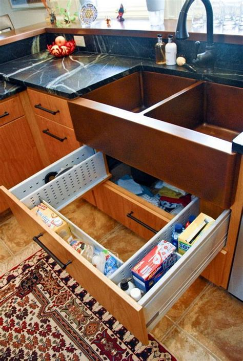 great idea for supplies under the kitchen sink too creative under sink storage ideas hative