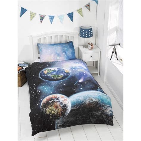 kids glow   dark single duvet set planets bedding