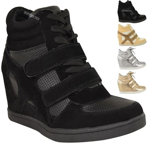 womens high top sneakers part 1 new women ladies hi top wedge trainers sneakers pumps