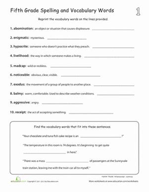 build vocabulary 1 worksheet education com