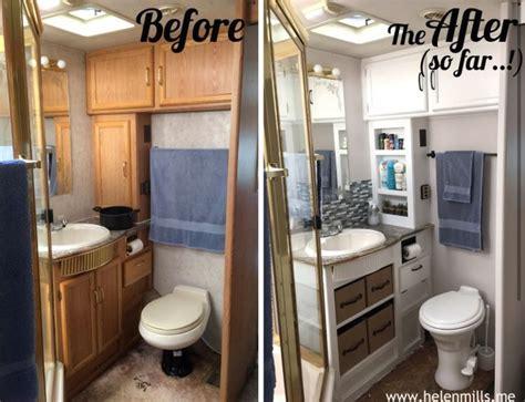 rv bathroom redo removing  cabinet doors