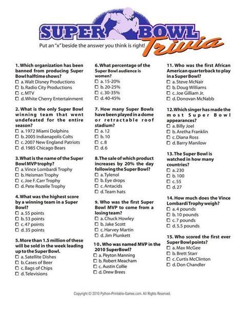 football trivia quiz super bowl trivia i 3 95 super bowl printable games