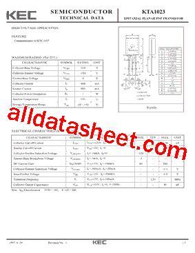 a1023 transistor pdf kta1023 datasheet pdf kec korea electronics