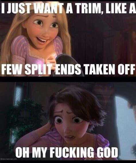 Tangled Meme - rapunzel cuts her hair short to prevent being so tangled