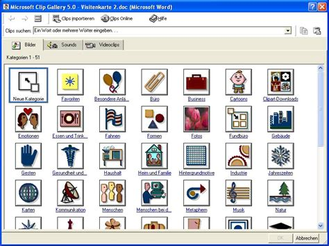 word clipart den office clipart manager nutzen