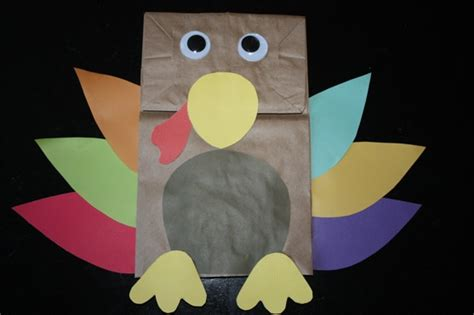 Paper Bag Turkey Crafts - thanksgiving day paper bag turkey puppet craft preschool