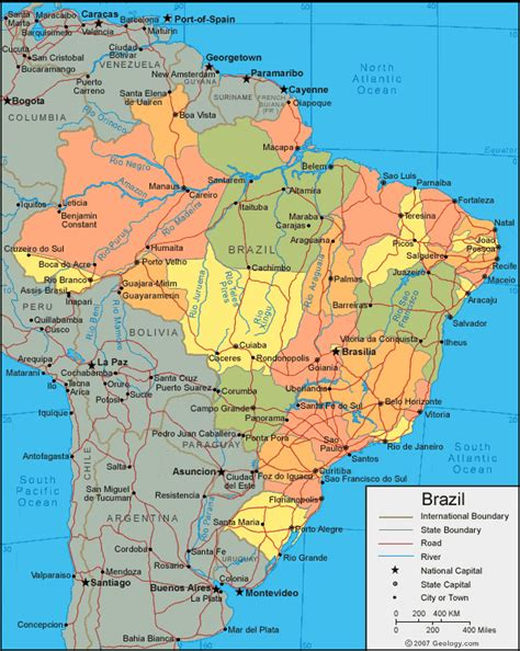 political map brazil brazil map and satellite image