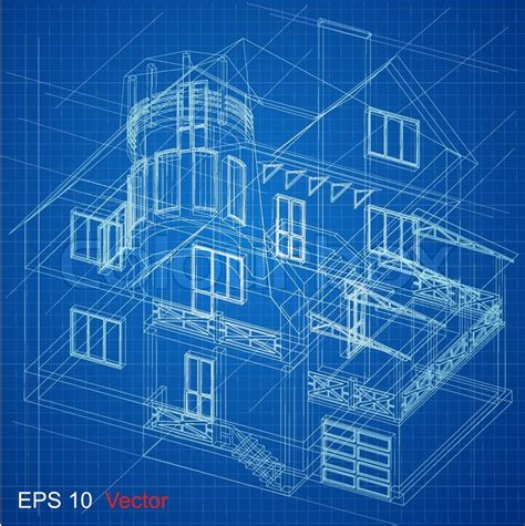 Blue Print Of House by Urban Blueprint Vector Architectural Background Part