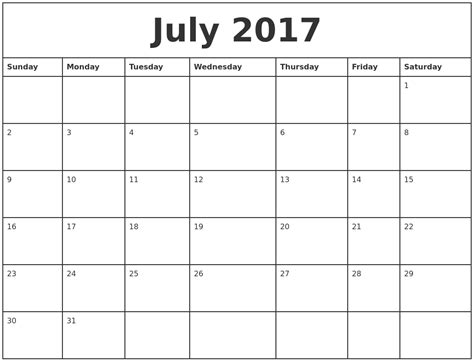 july 2017 printable monthly calendar