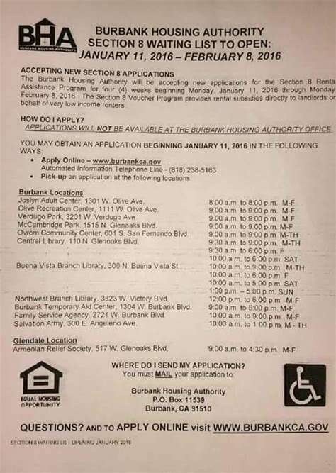 city of burbank to open section 8 waiting list 2