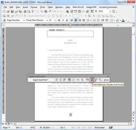 format halaman word cara membuat nomor urut halaman beda format di ms word
