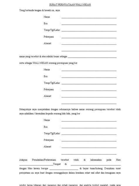format surat pernyataan wali nikah surat pernyataan wali nikah