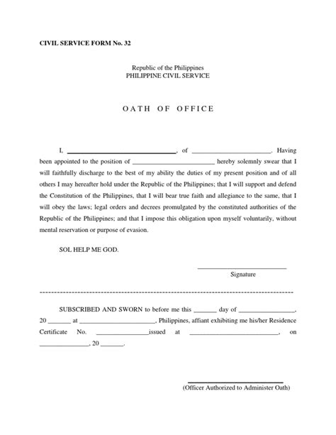 oath of office template civil service form no